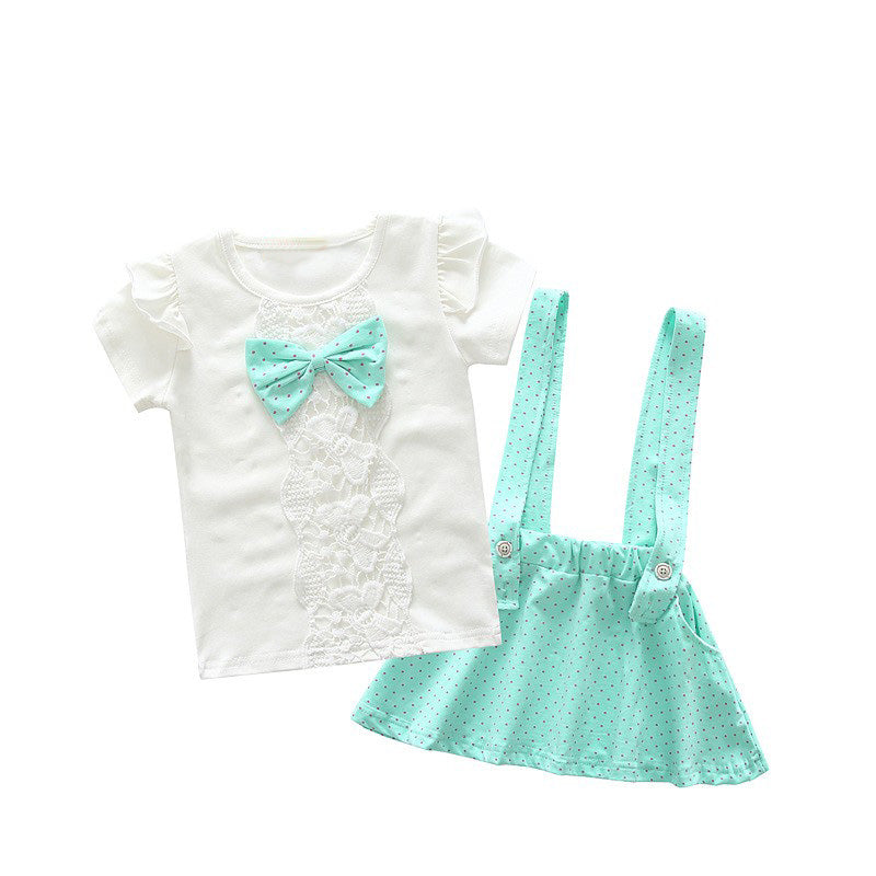 Lace T-Shirt with Bow and Strap Skirt - 2pc Set