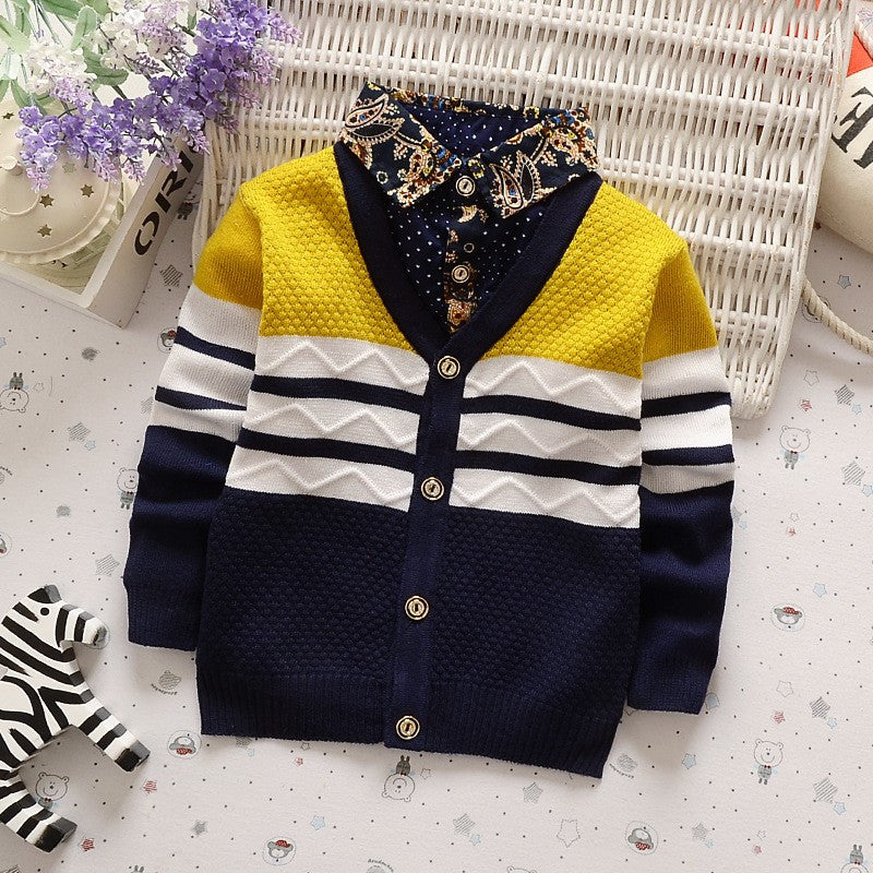 Unique Cardigan with Shirt Collar