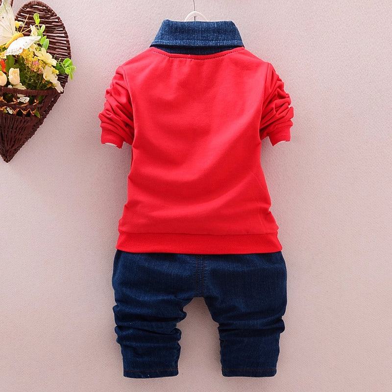 Stylish Long Sleeve Collared Top with Jeans Style Long Pants - 2pc Set