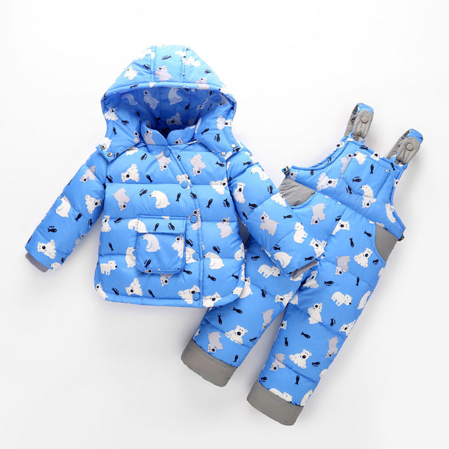 Down Snowsuit with Hooded Jacket and Overalls Pants - 2pc Set
