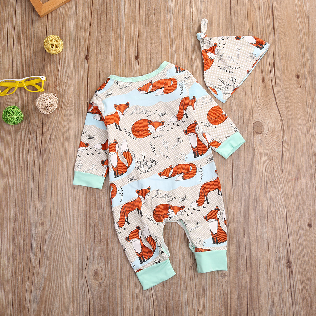 Adorable Fox Romper and Matching Hat - 2pc Set