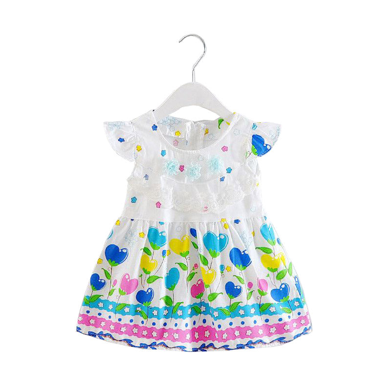 Cute Colourful Floral Design Dress with Decorations