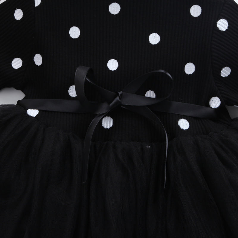 Long Sleeve Polka Dot and Bow Mesh Dress