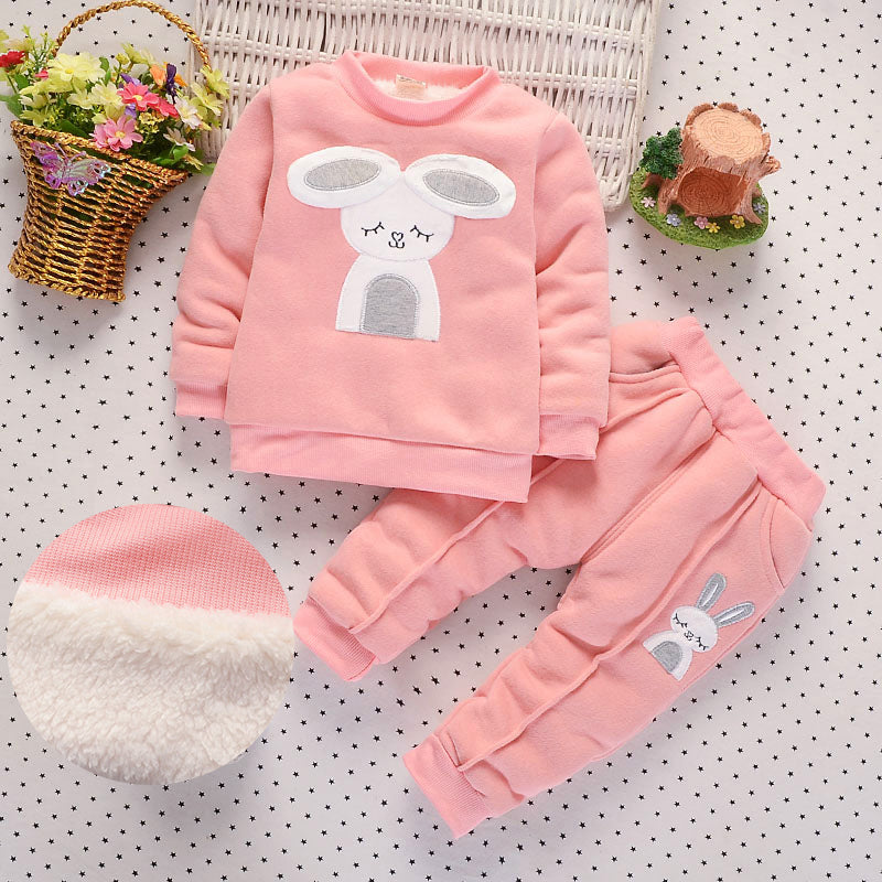 Cute Bunny Fleece Sweater and Matching Tracksuit Pants - 2pc Set