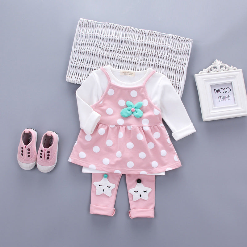 Polka Dot Slip Dress with Long Sleeve T-Shirt and Matching Long Pants - 3pc Set