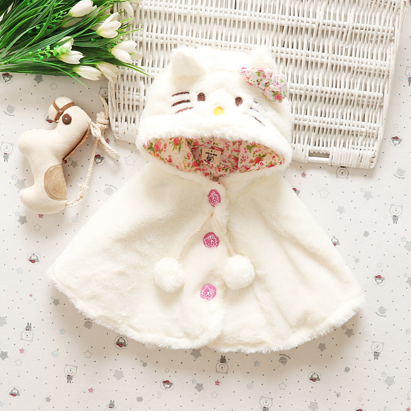 Adorable Kitten Cloak with Hood, Bow and Pom Poms