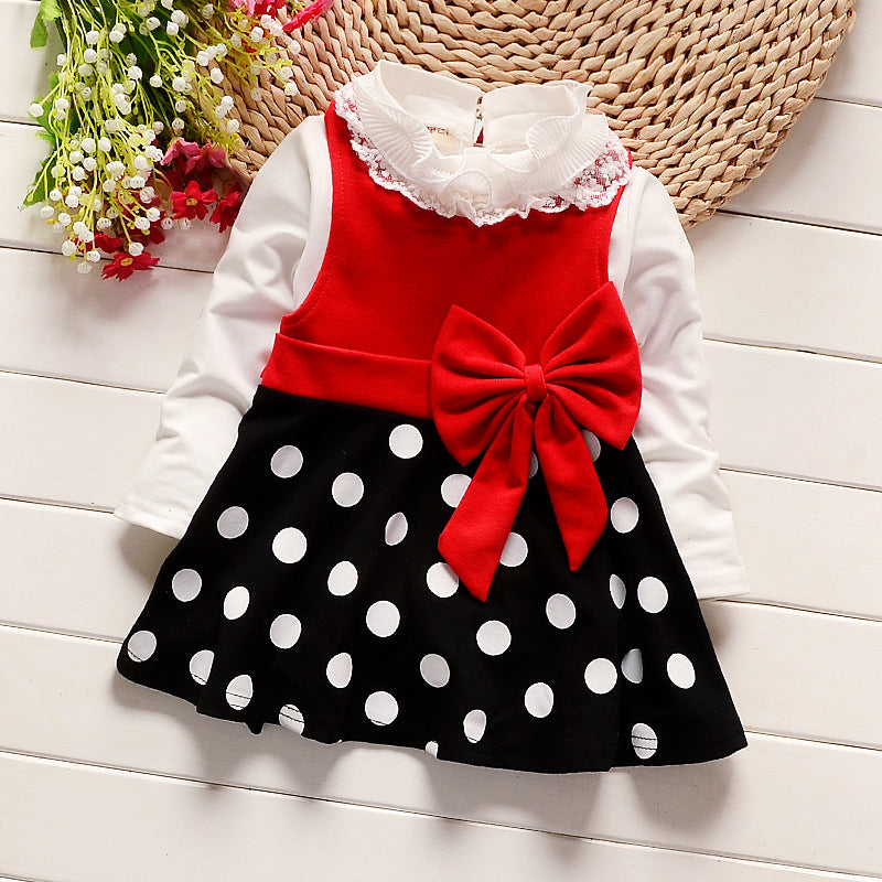 Lace Collar Shirt and Sleeveless Polka Dot Dress with Oversize Bow - 2pc Set