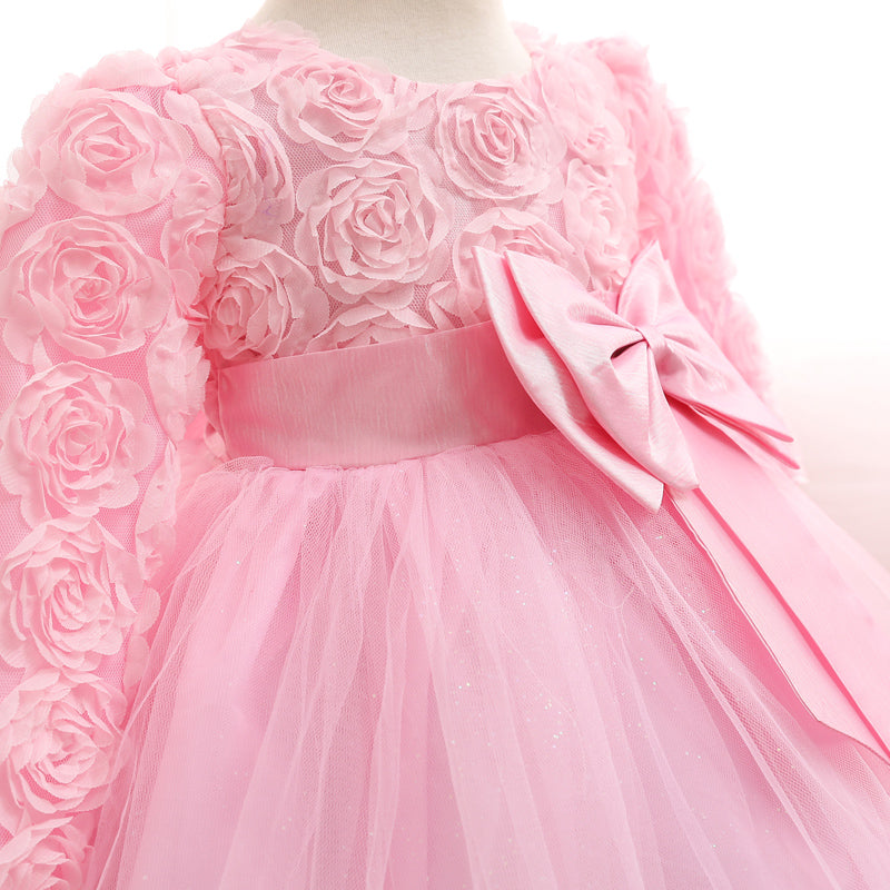Beautiful Princess Party Dresses with Flower Pattern and Oversize Bow Knot