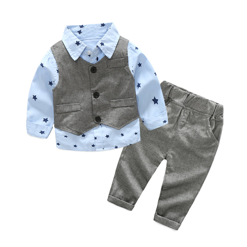 Formal Gentleman's Outfit with Long Sleeve Shirt, Vest and Trousers - 3pc Set