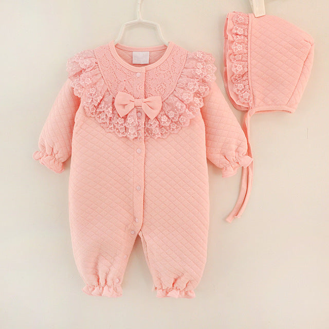 Old English Style Romper with Lace and Matching Hat - 2pc Set