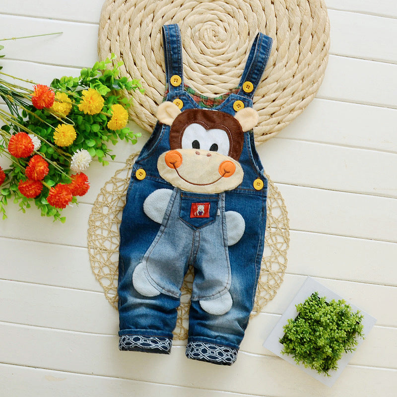 Denim Overalls with Cute Cartoon Animals