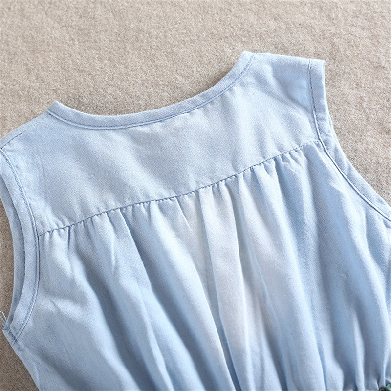 Sleeveless Denim Bodice Dress