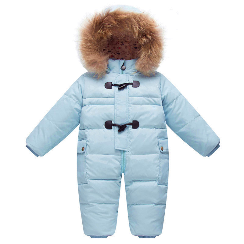 Winter Down Filled Snowsuit with Fur Collar Hood
