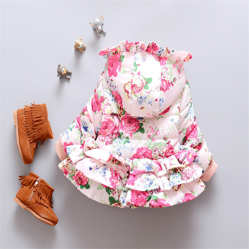 Floral Frills Winter Jacket with Hood