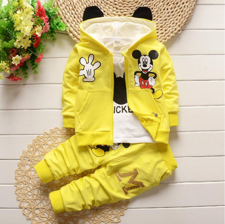 Cartoon Mouse Theme Outfit with Matching T-Shirt, Jacket and Pants - 3pc Set