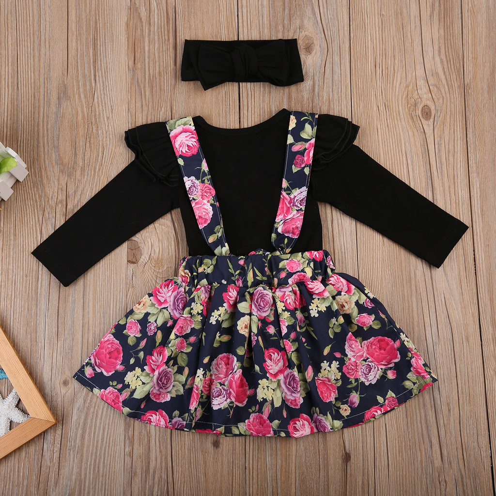 Long Sleeve Bodysuit with Matching Headband and Floral Strap Skirt - 3pc Set