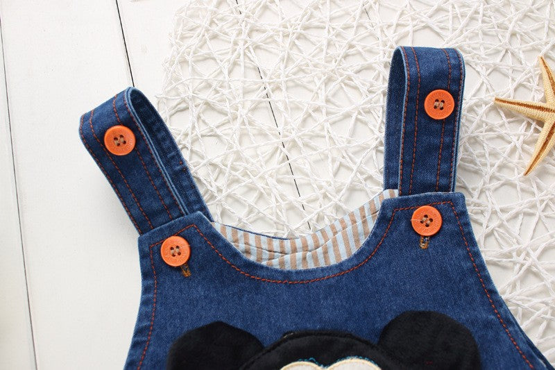 Iconic Cartoon Mouse Denim Overalls