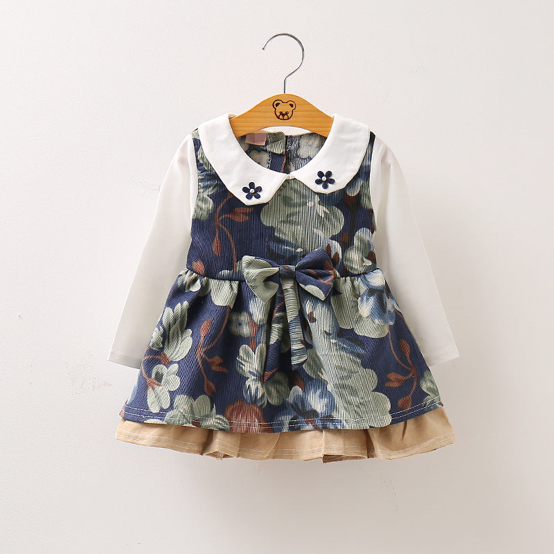 Long Sleeve Autumn Winter Floral Theme Dress