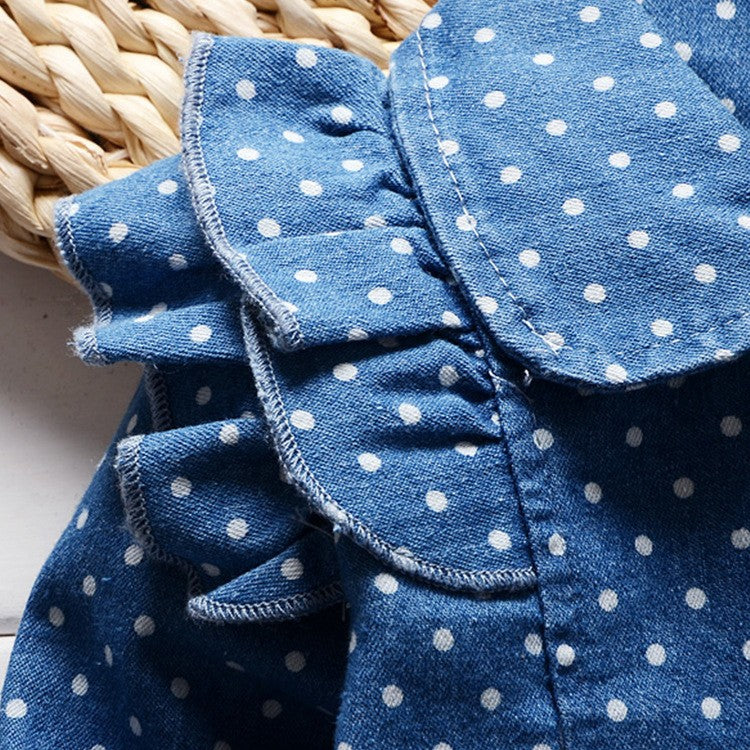 Long Sleeve Polka Dot Denim Coat with Shoulder Ruffles