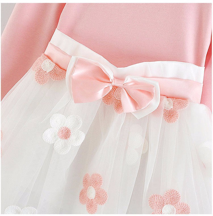 Long Sleeve Flowers and Bow Dress