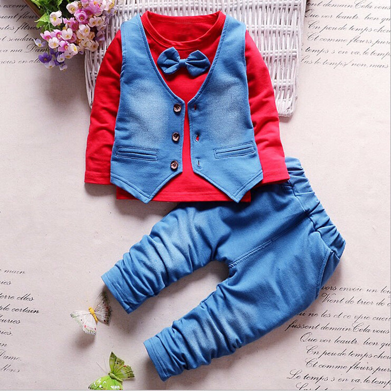Formal Style Long Sleeve T-Shirt with Vest and Long Pants - 3pc Set