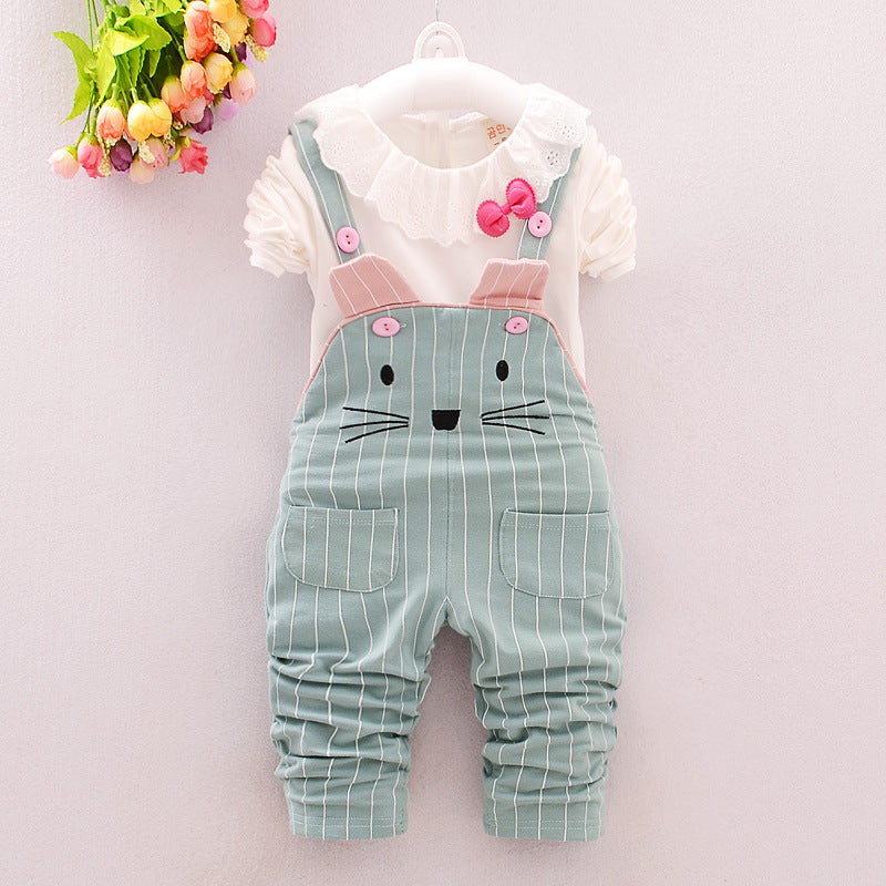 Long Sleeve Lace Shirt and Mouse Design Overalls - 2pc Set
