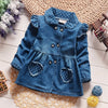Long Sleeve Denim Coat with Collar and Shoulder Ruffles