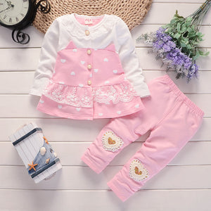 Heart Themed Long Sleeve Top and Matching Long Pants - 2pc Set