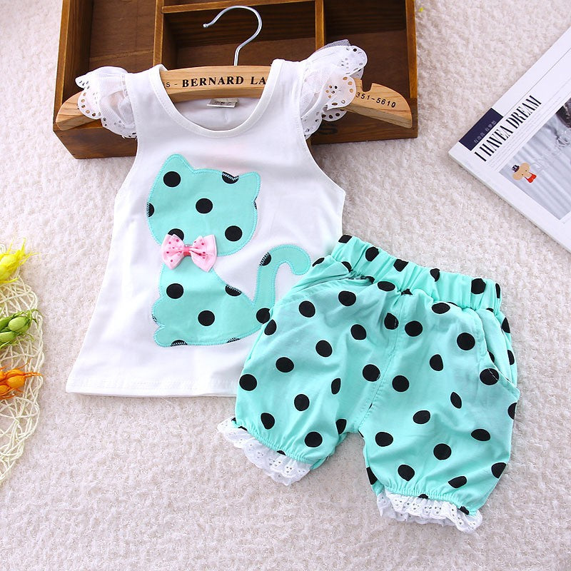 Singlet Top with Polka Dot Kitten and Matching Shorts with Lace - 2pc Set