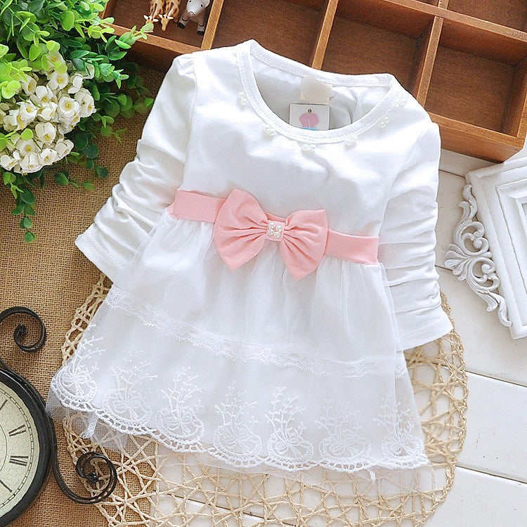Long Sleeve Bow Pearl and Lace Dress