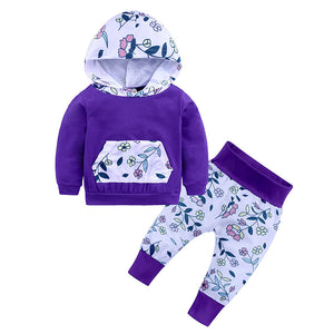 Long Sleeve Hoodie with Pocket Pouch and Matching Pants - 2pc Set