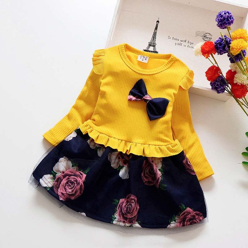 Long Sleeve Dress with Ruffles, Bow and Large Flower Print