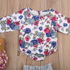 Long Sleeve Floral Bodysuit and Tutu Bow Skirt - 2pc Set