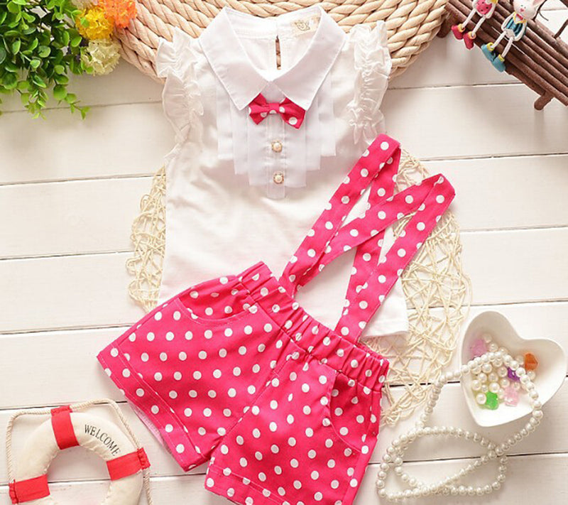 Sleeveless Shirt with Ruffles and Strap Polka Dot Pants - 2pc Set