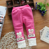 Warm Polka Dot Long Pants with Bunny Decoration