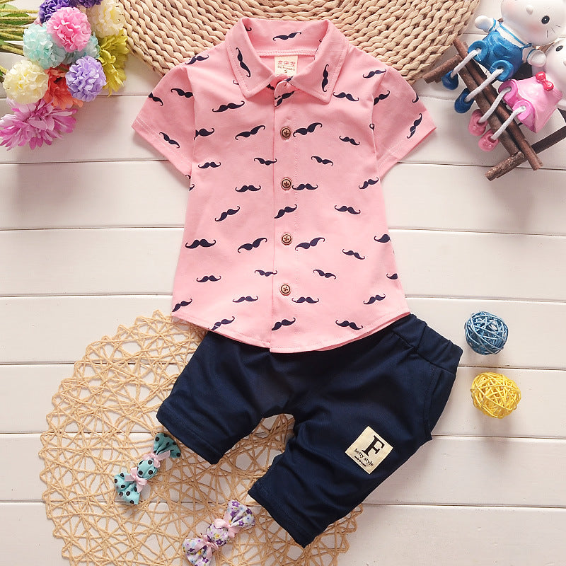 Mustache Print Short Sleeve Shirt and Pants - 2pc Set