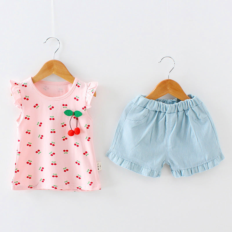 Sleeveless Cherry Top with Casual Shorts - 2pc Set