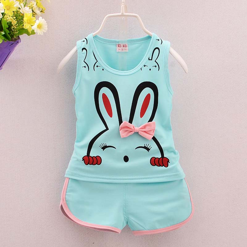 Sleeveless Bunny Print Top and Matching Sport Shorts - 2pc Set