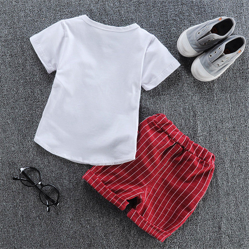 Pin Stripe Vest Style T-Shirt with Bow and Matching Shorts - 2pc Set