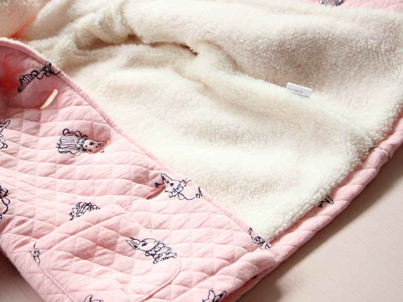 Hooded Fleece Coat with Rabbit Print and Pockets