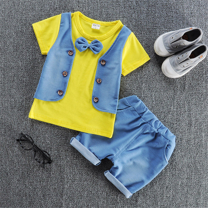 Vest Style T-Shirt with Bow and Matching Shorts - 2pc Set