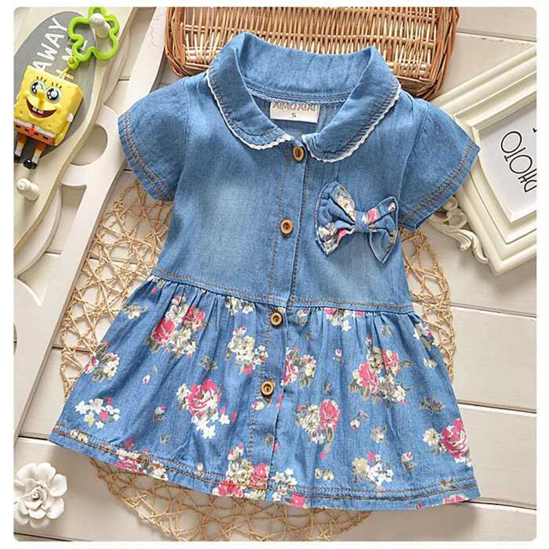 Short Sleeve Denim Dress with Floral Design