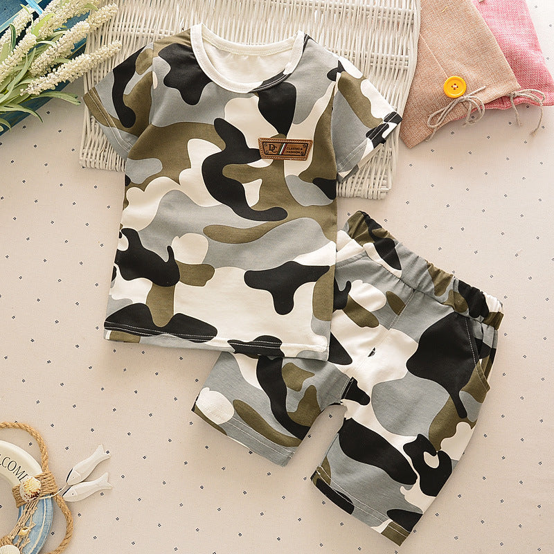Camouflage Outfit with T-Shirt and Shorts - 2pc Set