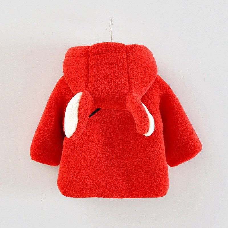 Hooded Fleece Coat with Ears and Feature Pocket