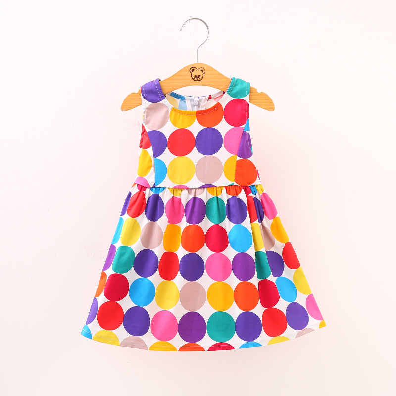 Sleeveless Colourful Dots Dress