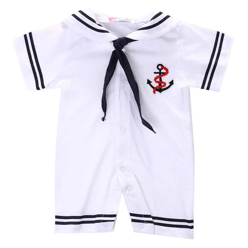 Cute Navy Romper with Sailor's Knot