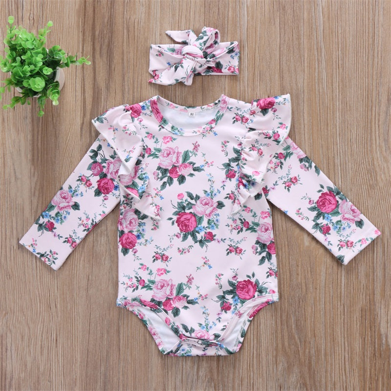 Pink Floral Bodysuit with Ruffled Shoulders and Matching Headband - 2pc Set
