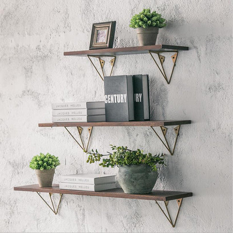 Farmhouse wall decor industrial shelves