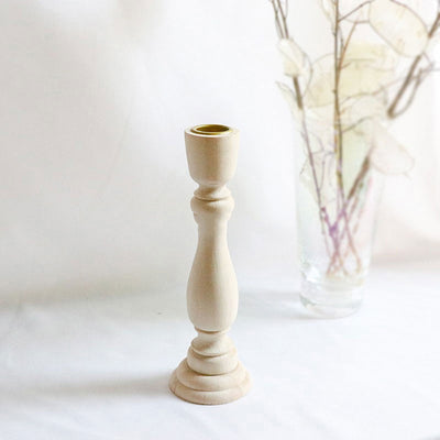 Audrey Wooden Natural Farmhouse Candle Stick | Farmhouse Decor