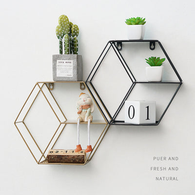 Domenico Metal Hexagon Shelf | Farmhouse Decor